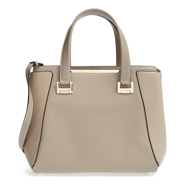 JIMMY CHOO Medium alfie leather satchel - A mix of smooth and pebbled leather adds rich dimension to...