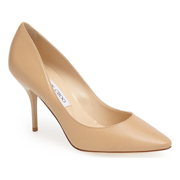 JIMMY CHOO mei almond toe leather pump - A glossy mid heel provides textural contrast for Jimmy...