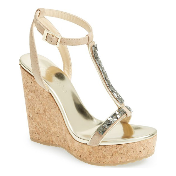 JIMMY CHOO naima jeweled t-strap wedge sandal - The minimalist approach of a T-strap sandal gets glitzy...