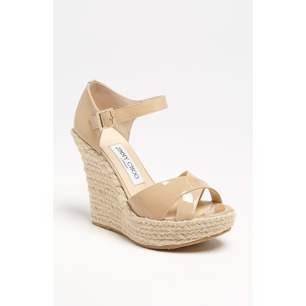JIMMY CHOO pallis wedge sandal - Glossy patent straps perfectly contrast the rough-hewn rope...