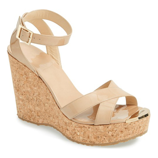 JIMMY CHOO papyrus cork wedge sandal - An earthy cork wedge lifts a polished strappy sandal styled...