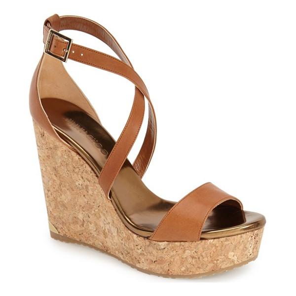 JIMMY CHOO 'portia' platform wedge - A chic two-piece construction with crisscross straps tops a...