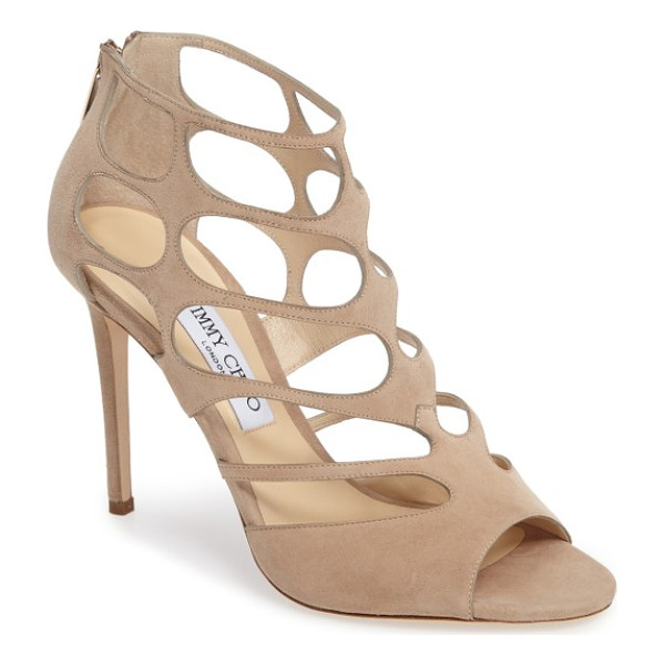 JIMMY CHOO jimmy choo 'ren' cutout sandal - Dramatic cutouts create a delicate, lacy effect on a svelte...