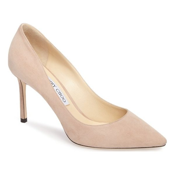 JIMMY CHOO romy pump - Jimmy Choo's signature Romy pump is silhouetted with subtle...