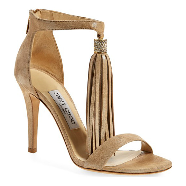 JIMMY CHOO 'viola' ankle strap sandal - A long tassel swishes and sways from the ankle strap of a...