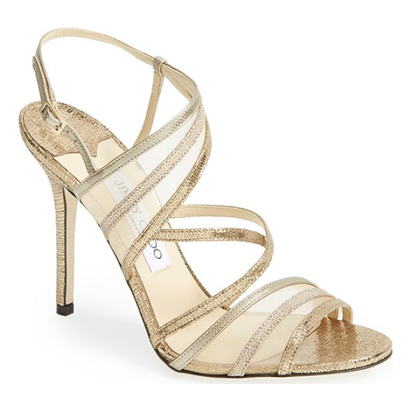 JIMMY CHOO visby mesh strappy sandal - Mixed-finish metallics put the Midas touch on a strappy...