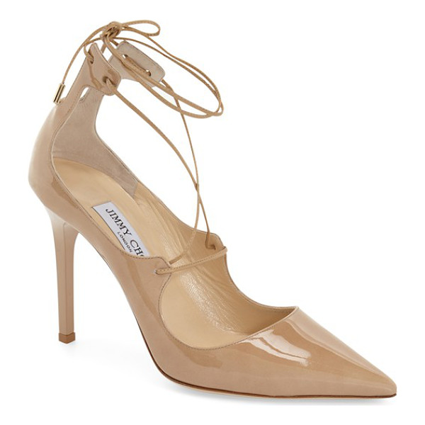 JIMMY CHOO vita pointy toe pump - Tonal lace-up ties further the simple elegance of a...