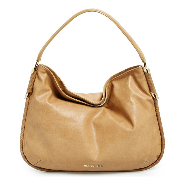 JIMMY CHOO Zoe leather hobo - Lustrous snakeskin trim traces the clean curves of a...