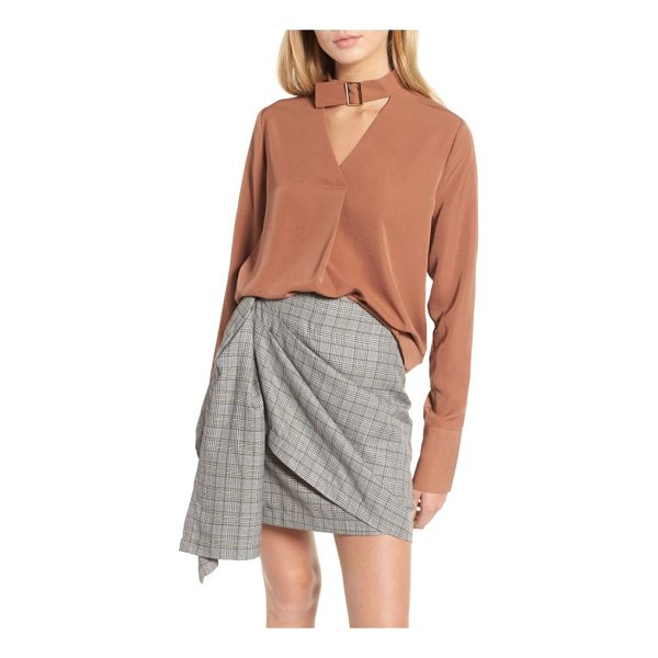 J.O.A. choker blouse - A buckled collar and oversized cuffs perfectly finish this...