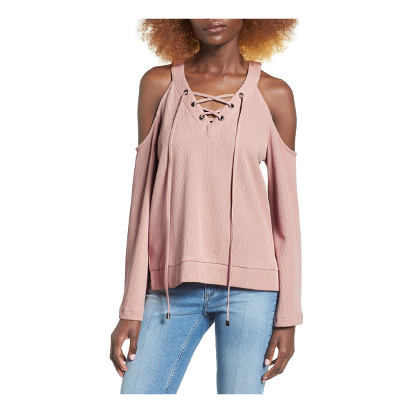 J.O.A. cold shoulder cotton top - The perfect mix of comfy and glam, a rib-knit cotton top...