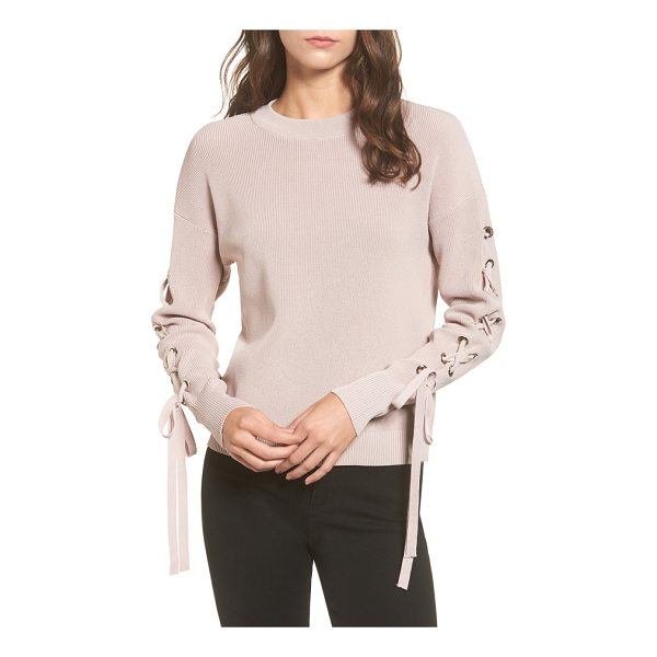 J.O.A. lace-up sleeve sweater - Kick up your downtime look in this lightweight sweater...