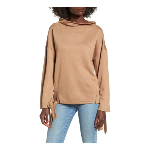 J.O.A. tie sleeve sweater - A cool retro vibe defines this boxy sweater with a soft...