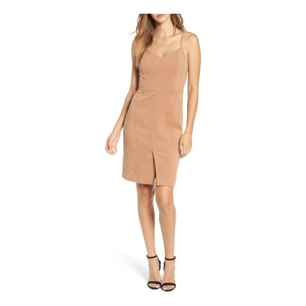 J.O.A. v-neck sheath dress - A soft stretch fabric with the brushed look of suede forms...