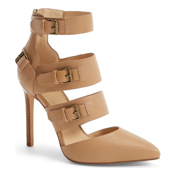 JOE'S giddy leather pointy toe pump - Layers of buckle-detailed straps create a contemporary...