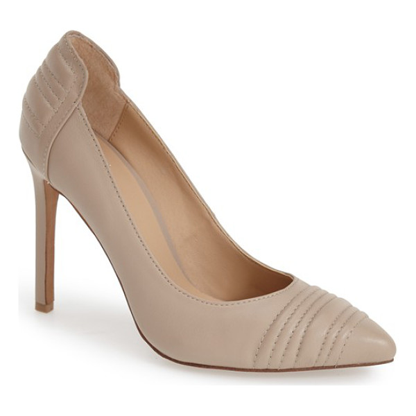 JOE'S gong pointy toe pump - Trapunto stitching stands out on the heel and toe of a...