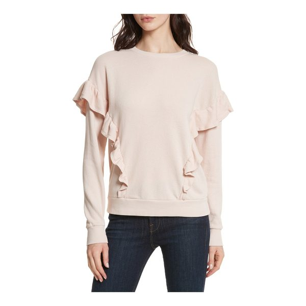 JOIE agnia ruffle top - Knit from soft cotton, this rib-trimmed pullover boasts...