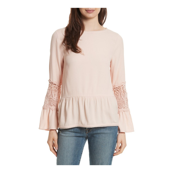 JOIE emelda bell sleeve blouse - A boho blouse is lovely in pale-pink crepe with lacy...