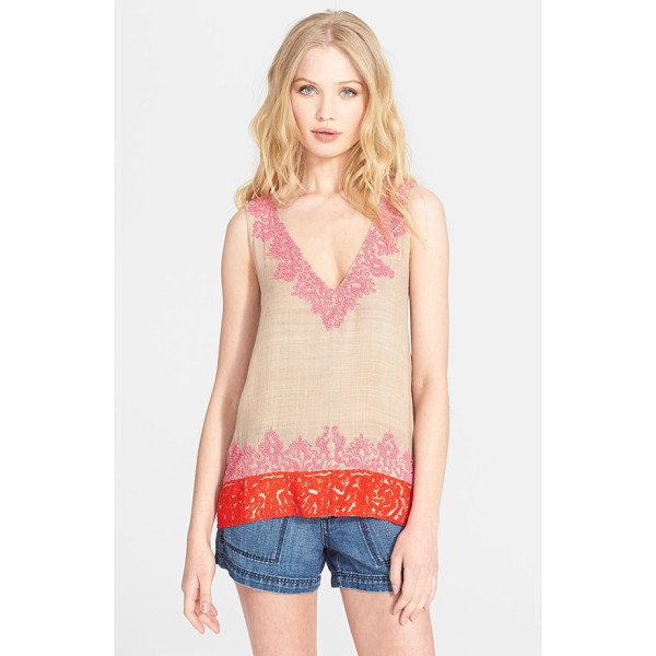 JOIE jules b beaded silk top - Saffron-hued embroidery lends exotic flair to the hem of a...