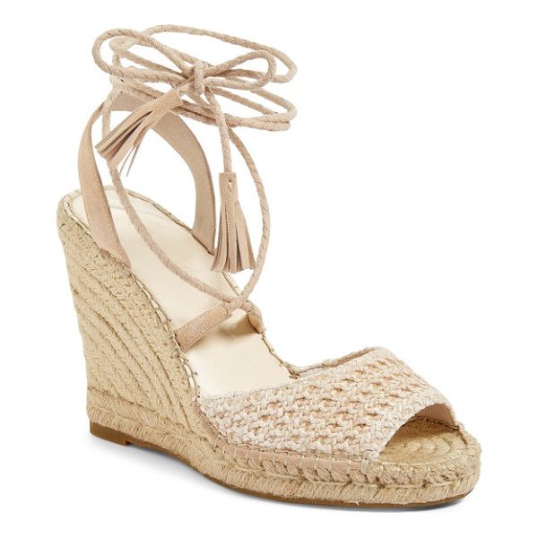 JOIE kacy espadrille wedge sandal - Tightly plaited wraparound laces tipped with tonal tassels...