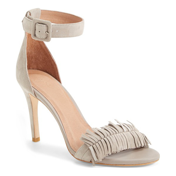JOIE pippi leather sandal - A fringed toe lends a flirty touch to a svelte ankle-strap...