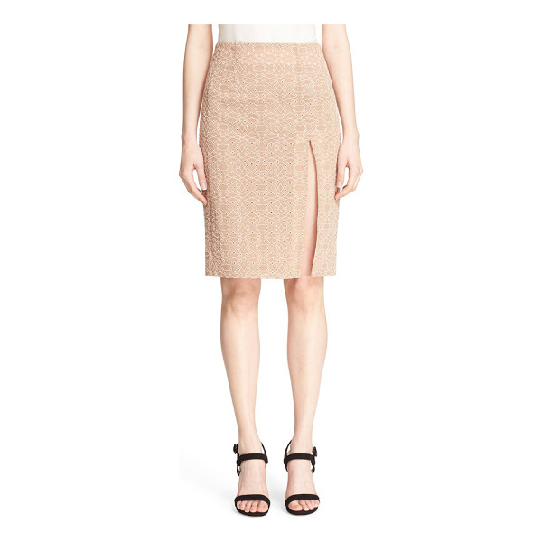 JONATHAN SIMKHAI 'burlesque' split eyelet pencil skirt - A beige mesh overlay accented with a geometric motif of...