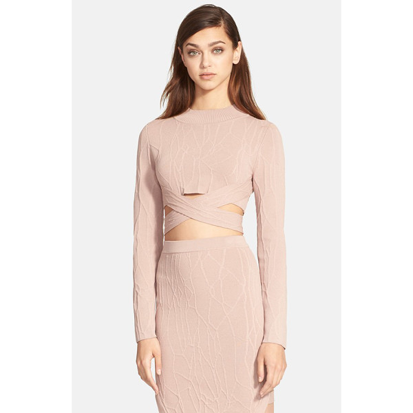 JONATHAN SIMKHAI wrap spill intarsia knit mock neck top - A sultry, cropped mock-neck top features a wraparound...