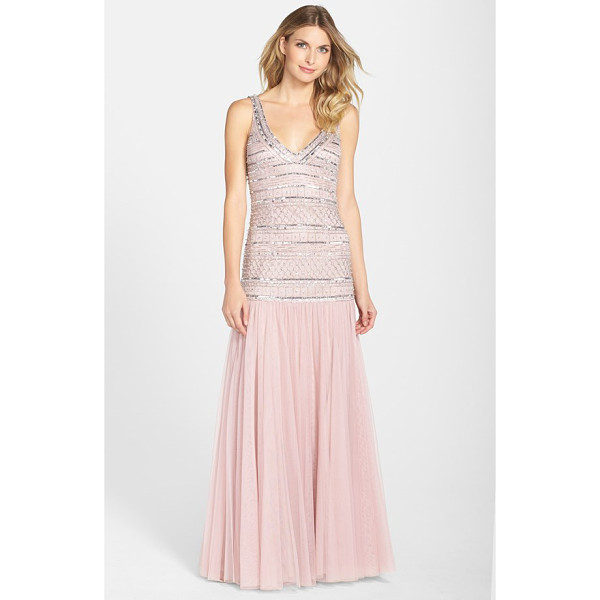 JS COLLECTIONS beaded mesh drop waist v-neck gown - Shimmering silver beadwork trickles down the drop-waist...
