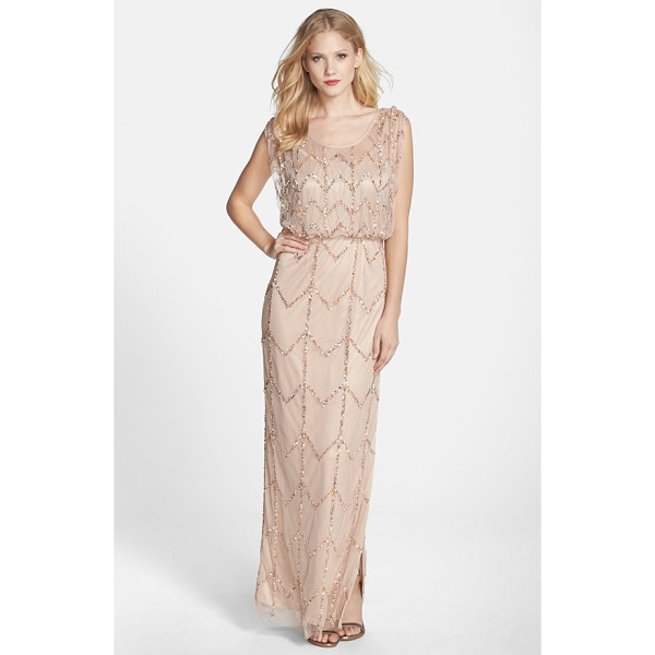 JS COLLECTIONS chevron beaded blouson gown - Chevron lines of iridescent, metallic beads and sequins...