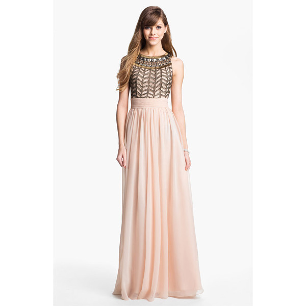 JS COLLECTIONS embellished chiffon gown - Ornate beadwork crowns the rounded neckline of a sleeveless...