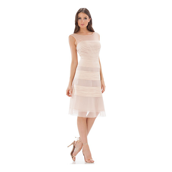 JS COLLECTIONS fit & flare dress - Banded appliques encircle this wispy cocktail dress primed...
