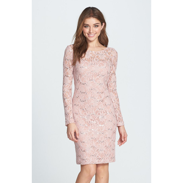 JS COLLECTIONS illusion lace dress - Shining sequins accent the flowery lace overlaying a fitted...