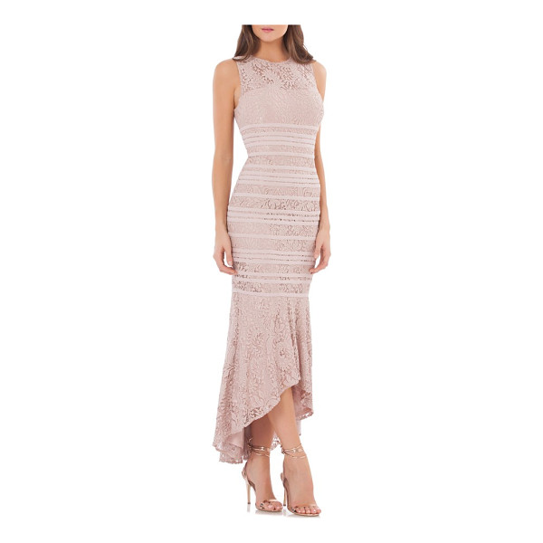JS COLLECTIONS lace high/low gown - Stretchy elastic bands sculpt the figure-tracing silhouette...