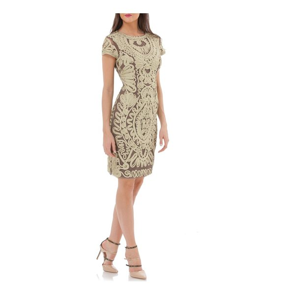 JS COLLECTIONS metallic soutache cocktail dress - A classic cocktail sheath takes on opulent glamour traced...