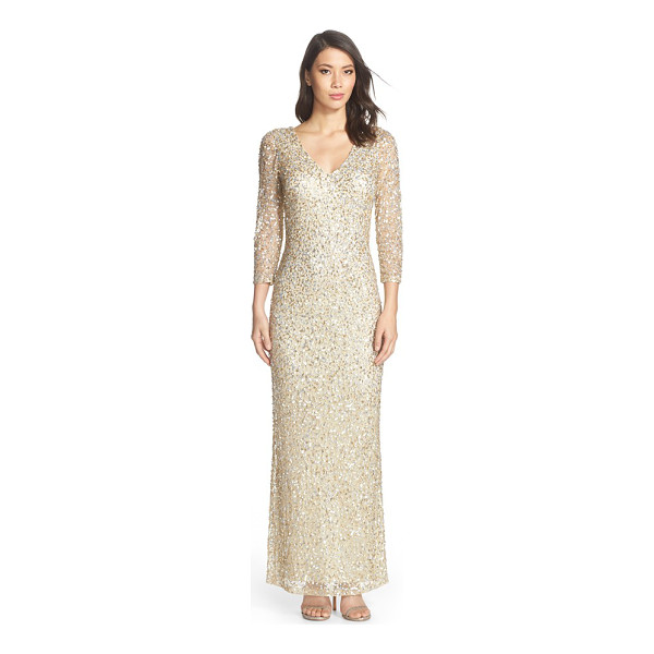 JS COLLECTIONS sequin mesh gown - A stunning collection of metallic sequins illuminates the...