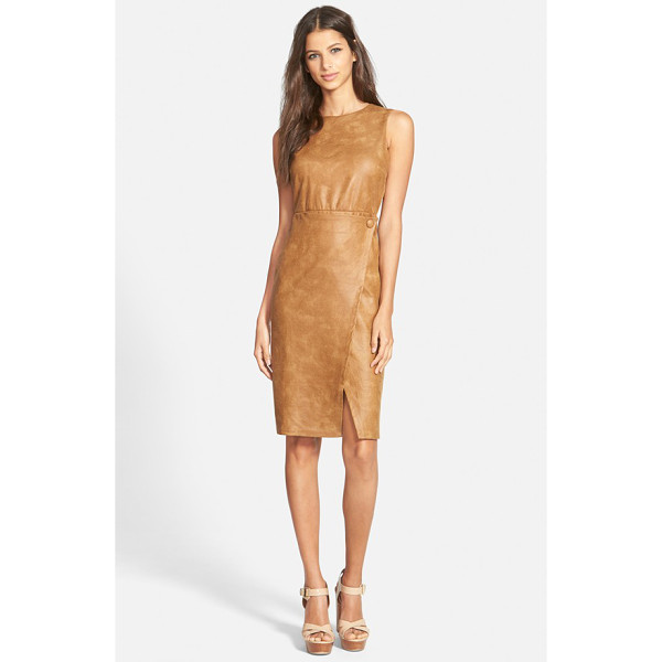 JUNE & HUDSON faux leather body-con dress - A crossover detail at the waist creates a chic asymmetrical...