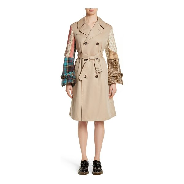 JUNYA WATANABE patterned sleeve trench coat - Flared patchwork sleeves add playful, feminine structure to...