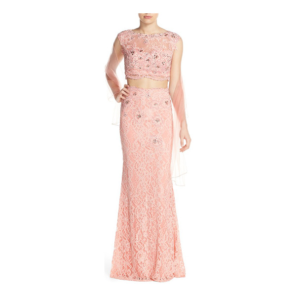 JVN BY JOVANI embellished lace two-piece gown & shawl - Glistening in iridescent beadwork and sequins, this floral...