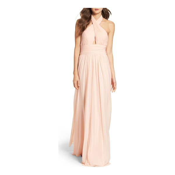 JVN BY JOVANI shirred gown - A crinkled, crisscrossing bodice supports and flaunts...