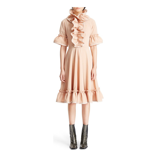 J.W.ANDERSON ruffle trim fit & flare dress - Unexpected lambskin piping adds an edgy touch to an...