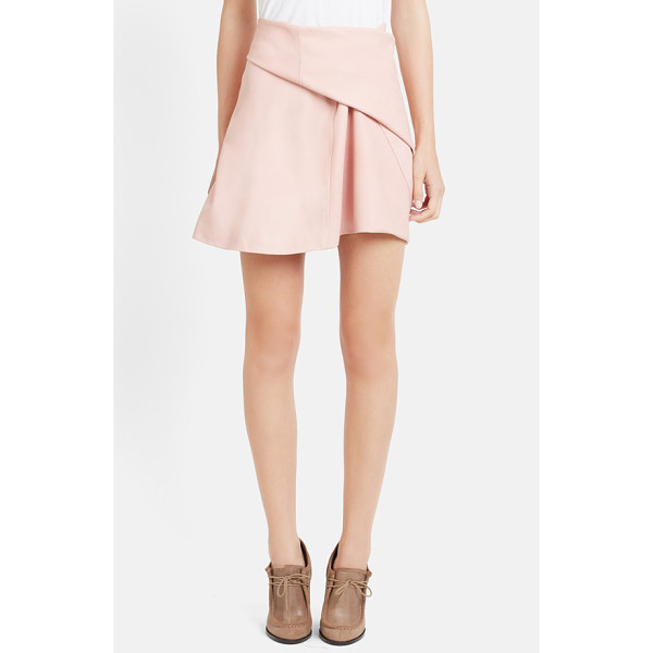 J.W.ANDERSON side drape nappa leather skirt - A deftly angled side pleat adds soft and artful dimension...