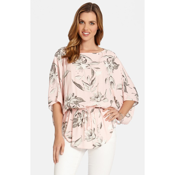 KAREN KANE drawstring kimono sleeve top - Pretty blossoms with a pencil-sketch look are scattered...