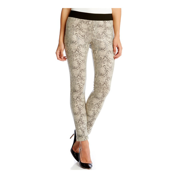 KAREN KANE snakeskin jacquard faux suede skinny pants - The slinky luster of snakeskin-textured faux suede gives a...