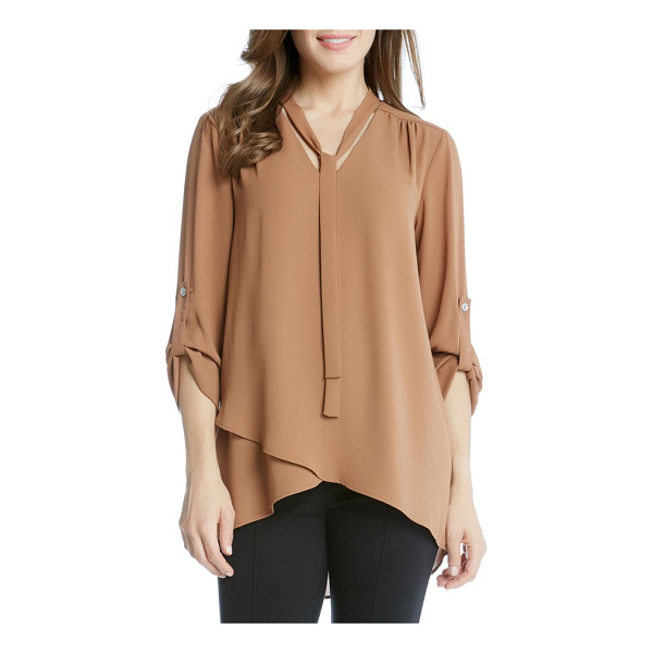 KAREN KANE tie neck blouse - Easy elegance for any day of the week, a flowy crepe blouse...