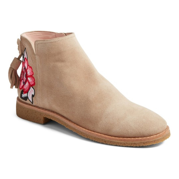 KATE SPADE NEW YORK belleville bootie - A beautifully vibrant embroidered bloom distinguishes this...