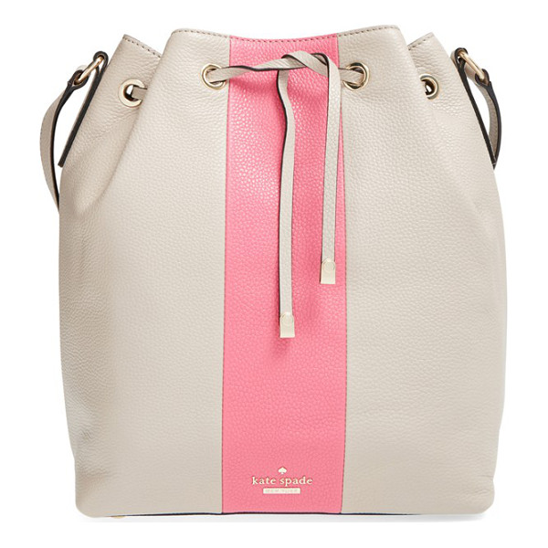 KATE SPADE NEW YORK Bennett street - A bold vertical racing stripe styles a pebbled leather...