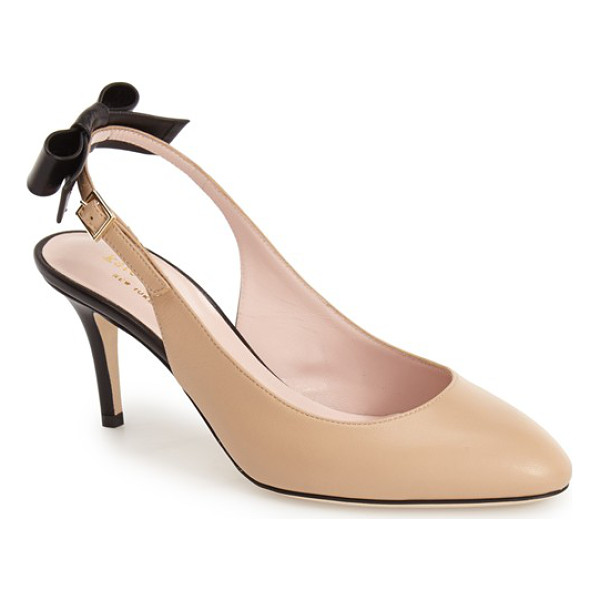 KATE SPADE NEW YORK chiara slingback pump - A saucy bow accents the slender slingback strap of a...