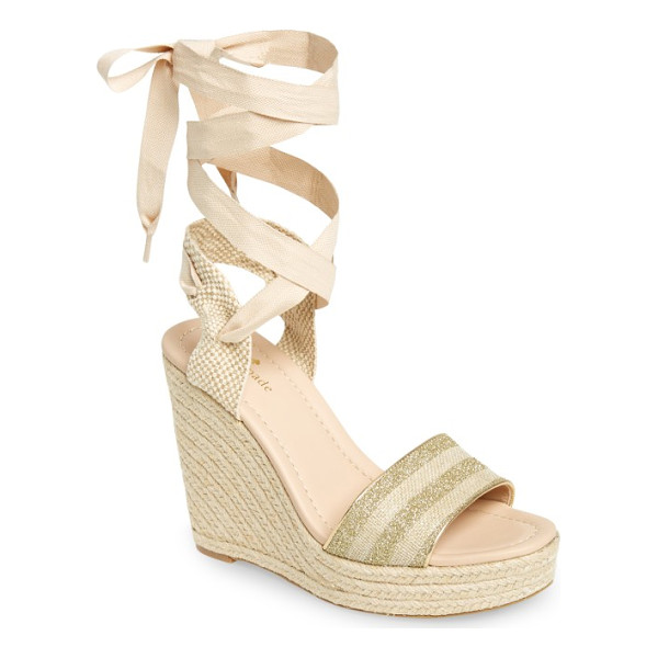 KATE SPADE NEW YORK delano wedge sandal - Subtle stripes of glitter enliven the toe strap of a lofty...