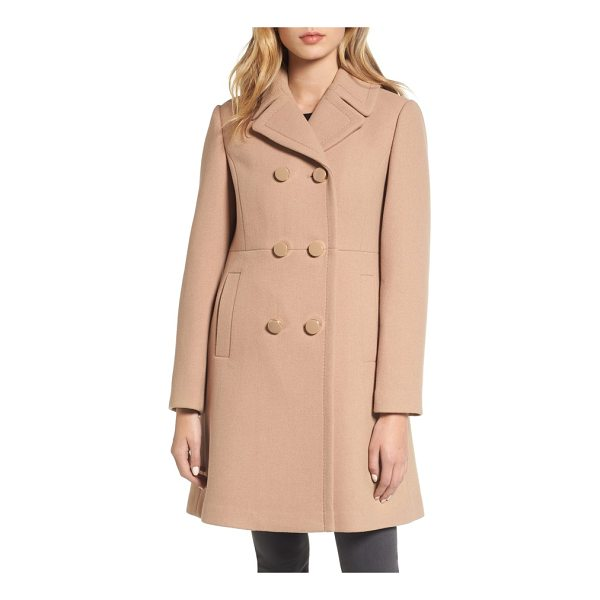 KATE SPADE NEW YORK double breasted coat - Glossy, logo-rimmed buttons and a princess-seamed...