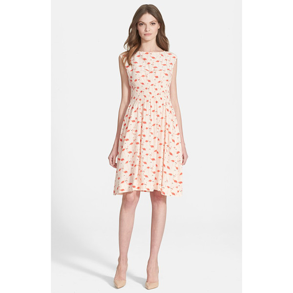 KATE SPADE NEW YORK flamingo blaire dress - Painted flamingos strike a pose atop a charming silk-blend...