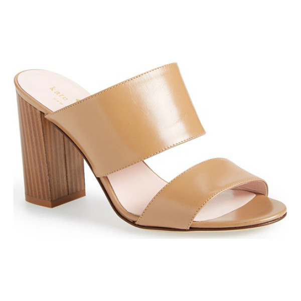 KATE SPADE NEW YORK imma double band slide sandal - A blocky wood-look heel boosts an elegant, yet causal...